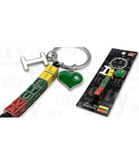 """Metalinis raktų pakabukas """"Aš myliu Lietuvą"""""""